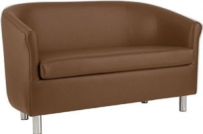 Tritium Faux Leather Sofa In Dark Brown