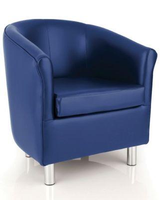Tritium Blue Faux Leather Tub Chair