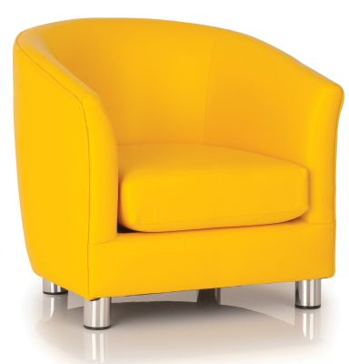 Tritium Yellow Faux Leather Tub Chair