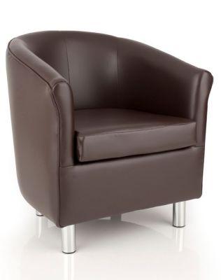 Tritium Brown Faux Leather Tub Chair