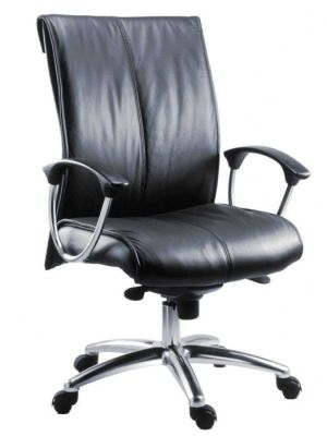 Brighton Black Leather Executive Chair On Chrome Base With Armrests And Castors