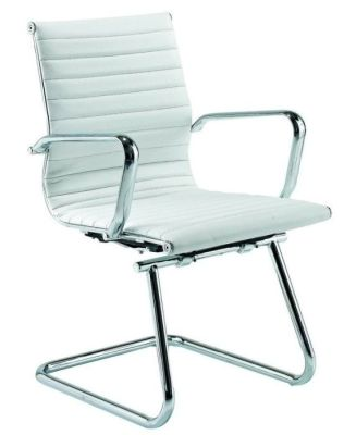 Aria Designer Cantilever Conference Chair In Ribbed White Leather With Chrome Frame
