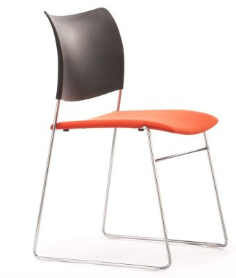 Elios Black And Orange Conference Chair With Chrome Wire Frame