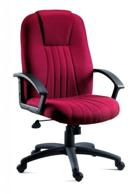 Dunster Managers Chair With Burgundy Fabric And Attractive Stitch Detail And Armrests