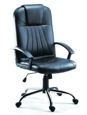 Rory Budget Executive Black Leather Chair With Designer Chrome Base