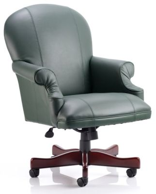 Edinburgh Managers Chair With Extra Large Seat And Back, Rolled Armrests In Green Soft Feel Leather
