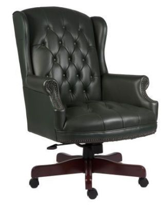Chairman Traditional Directors Chair With Green Luxurios Button Design Leather