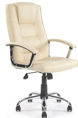Raffles Cream Leather Executive Chair With Inbuilt Headrest And Armrests