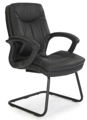 Thor Soft Feel Black Leather Cantilever Conference Chair