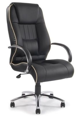 Kingdom Deluxe Executive Chair In Black Leather With Cream Detailing And Chrome Armrests With Upholstered Padding