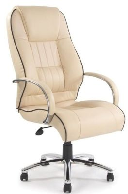 Kingdom Chairmans Swivel Chair In Cream Leather With Stylish Black Detailing And Matching Armrests