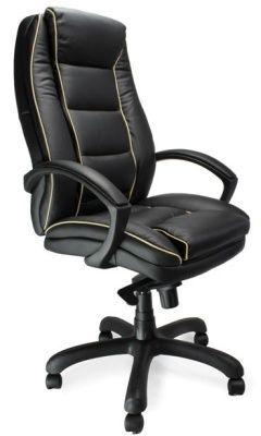 Fredo Delux Directors Chair In Black Leather With Stylish Cream Detailing And Waterfall Front