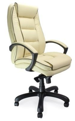 Fredo Luxury Managers Chair In Cream Leather With Contrasting Black Detailing
