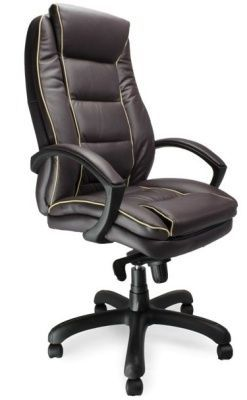 Fredo Executive Chair In Burgundy Leather With Cream Detail