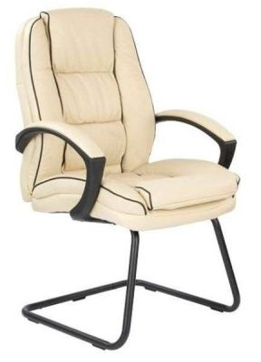 Fredo Deluxe Cantilever Meeting Chair With Cream Upholstery With Black Piping And Matching Arm Rests