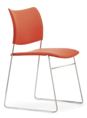 Elios Stackable Conference Seat With Orange Upholstered Seat And Back And Chrome Frame