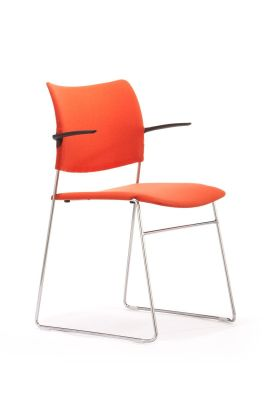 Elios Conference Chair In Orange Vinyl With Black Armrests