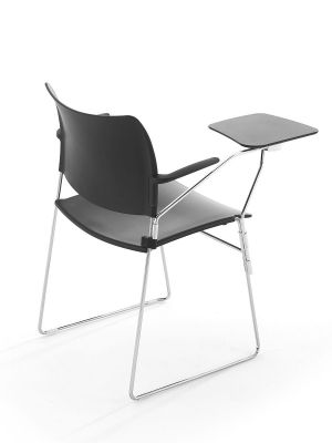 Elios Black Meeting Chair With Writing Black Writing Tablet