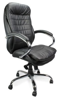 Randall Executive Black Leather Chair With Chrome Base And Padded Armrests