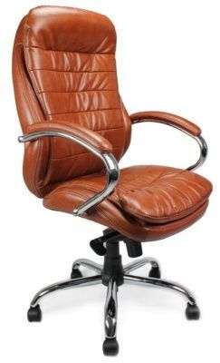 Randall Deluxe Executive Tan Leather Swivel Chair With Matching Armrests