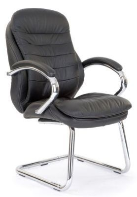 Randall Deluxe Conference Chair In Black Leather With Chrome Cantilver Frame