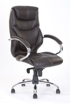 Banton Luxury Chairmans Chair In Chocolate Brown Leather And Matching Armrests