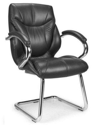 Banton Black Leather Cantilever Conference Chair With Chrome Frame And Matching Armrests