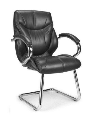 Banton Black Luxury Leather Visitors Chair