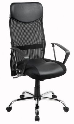 Vegas Task Chair With Mesh Back, Leather Padded Seat And D Shaped Arms On Castors With Chrome Base