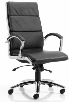 Classique Black Leather Designer Office Chair With Chrome Frame