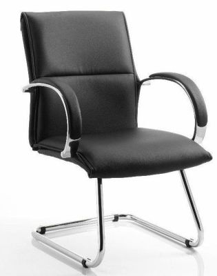 Boron Cantilever Visitor Chair With Black Padded Bonded Leather And Chrome Frame