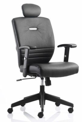 Athena Black Leather Computer Chair With Armrests And Headrest
