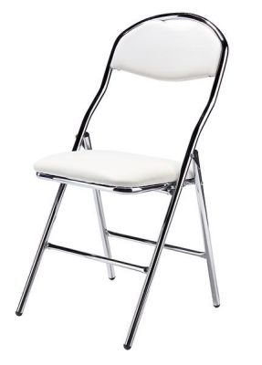 200 Sd Folding Chair Wite Faux Leather And Chrome Frame