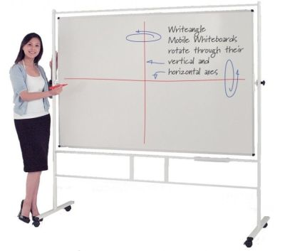 Write-angle Horizontally Revoling White Board On Stand With Four Castors
