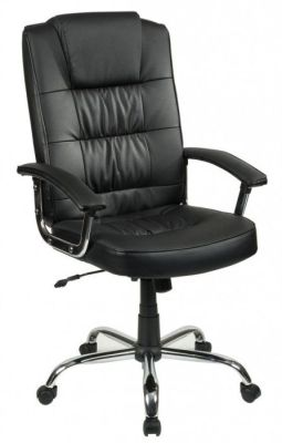 Roger Deluxe Executive Chair In Black Leather
