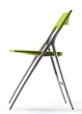Plek Green Conference Folding Chair With Silver Frame