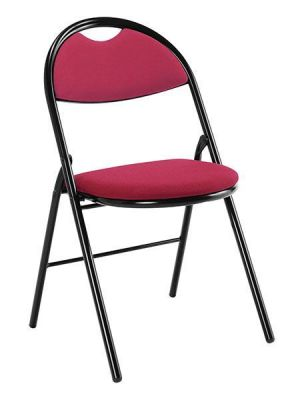 Sienne Folding Conference Chair In Red Fabric With Black Frame