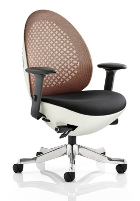 Ovum Designer Chair With A Mandarin Mesh Back And White Frame