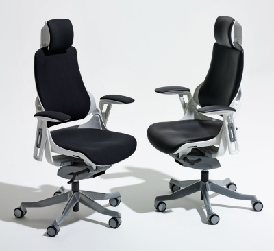 Pair Of Zodiac Task Chairs Black Leather And Black Fabric