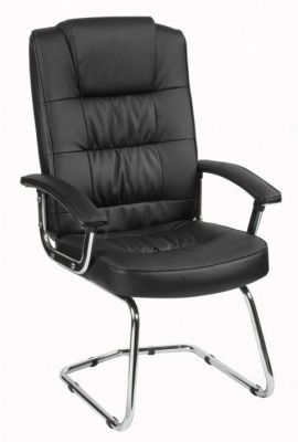Roger Deluxe Visitors Cantilever Black Leather Chair