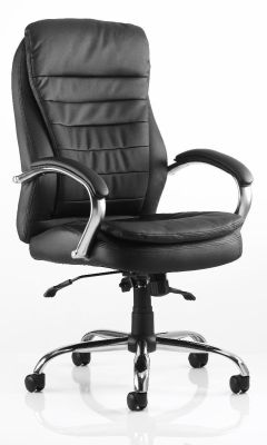 Seattle Black Soft Touch Leather Managers Chair With Sculptured Chrome Arms With Leather Padding