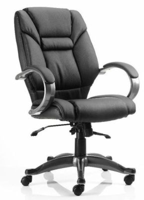 Galway Managers Black Leather Office Chair With Designer Arms And Base