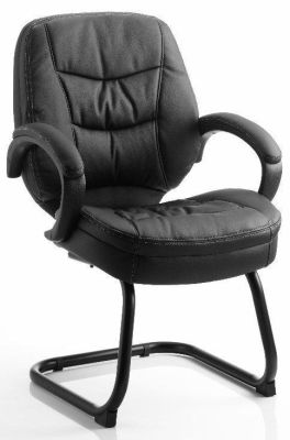 Booker Cantilever Conference Chair In Black Leather