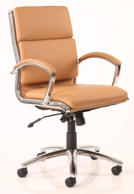 Classique Medium Back Tan Leather Executive Designer Chair