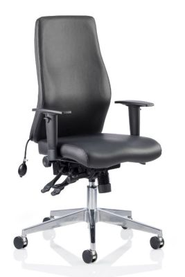 Orion Black Leather Ergonomic Chair Without Headrest