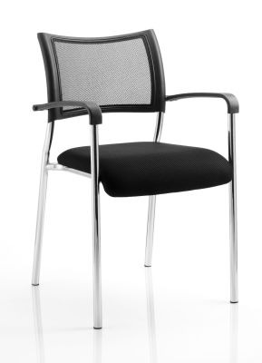 Brunswick Visitor Chair With Black Mesh Back And Fabric Seat And Chrome Legs