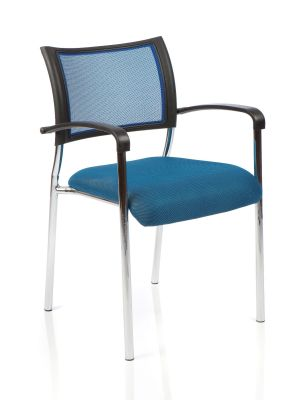 Brunswick Meeting Chair With Blue Mesh Back, Blue Fabric Seat And Chrome Legs