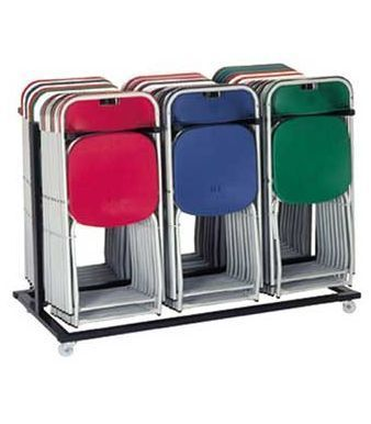 FC Folding Red,blue And Green Examination Chairs Stacked On Trolley