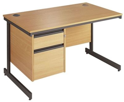 Maddellex C Frame Beech Desk With Integeral 2 Drawer Pedestal