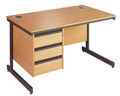 Maddellex Cantilever Frame Beech Desk With Attached Three Drawer Pedestal